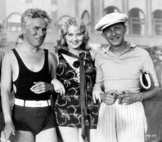 "Charlie Chaplin visits Thelma Todd and director Mervyn LeRoy during filming of ""Naughty Baby"" (1928)"
