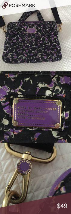 "Marc by Marc Jacobs Lap top bag Felt interior, pocket on outside. Hand handles or strap for over the shoulder. Lightly worn, purple floral print. 10"" L x 13.5""W Marc by Marc Jacobs Bags Laptop Bags"
