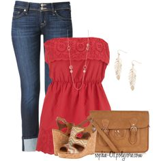 Red Strapless Tunic Top :)