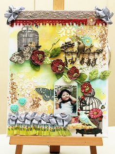 Scrapbook page, canvas creation, mixed media