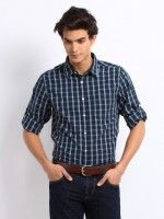 30% OFF! Roadster Men Navy Vettel Checked SLIM FIT SHIRT