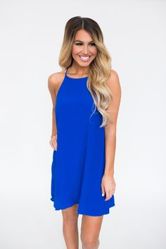 Royal Blue Slit Back Halter Dress - Dottie Couture Boutique