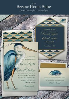 Serene Heron wedding stationery suite from Colin Cowie | Greenvelope.com digital invitations