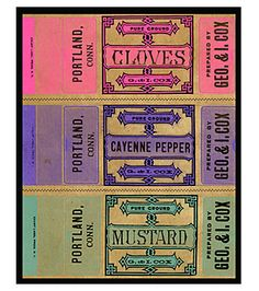 Vintage Spice Labels.   Wow look at the colors!
