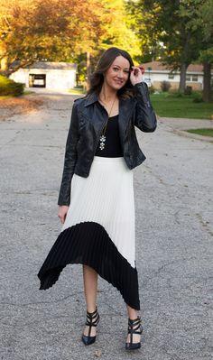 leather jacket + chiffon skirt - www.lovelucygirl.com