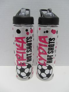 10 Personalized water bottles - soccer, volleyball or other sport - NEW - mix and match - clear plastic, BPA free with flip top