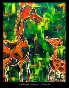 Giraffe Mother and Child www.thepaintbar.com