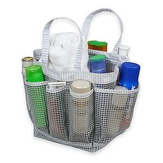 The Mesh Shower Tote is the perfect accessory to carry your shower accessories. This waterproof tote is ideal for dorm life or travel, and has a central compartment for large items and side pockets for small containers like shampoo, razors, and more.