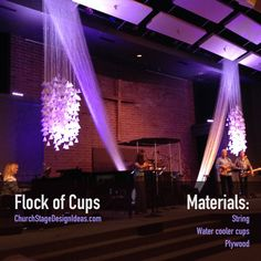 Emily Perry from Johnston Evangelical Free Church in Johnston, Iowa brings us this cool art installation with water cooler cups and string.