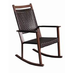 allen   roth Grand Lake Brushed Oak Aluminum Woven Patio Rocking Chair