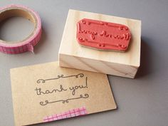 Thank You Rubber Stamp with Cursive Swirls for thank you cards, notes, tags, packaging. $9.95, via Etsy.
