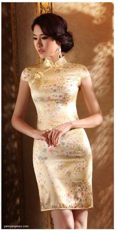 Traditional Silk Cheongsam Knee Length Summar Floral Qipao
