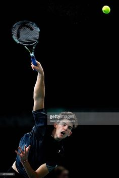 Dominic Thiem of Austria in action against Alexandr Dolgopolov of Ukraine during day 1 of the BNP Paribas Masters held at the at Palais Omnisports de Bercy on October 27, 2014 in Paris, France.