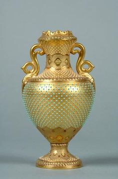 Coalport Porcelain 'Jewelled' Vase (one of pair). Shrewsbury Museums Service