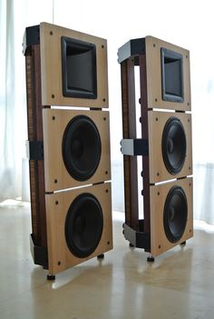"""with PAP(Morel)1075 10"""" Open Baffle woofers and Beyma TPL150/H AMT horn tweeter"""