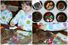 let's go fly a kite: Crafting with my kids: Pompom pine cone forest