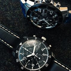 One of our most popular Sinn watches the classic 103 St Flieger chronograph with acrylic crystal. These two have just arrived from Frankfurt one on leather and one on the polished and bushed bracelet #watches #Sinn