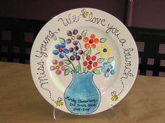 flowers in vase class fingerprints, bumble bee lettering Pottery Piazza original