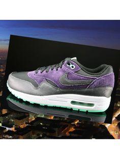 Chaussures De Course Nike Air Max 1 Essential Femme Noir Violet Vert Glow  Anthracite SY8h4r 1215225d419