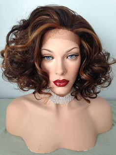 """Classic, nearly shoulder length curly wig. 12"""" long from the crown"""