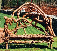Large eighteenth century English romantic bench with natural seat. - by Laura Spector Rustic Design