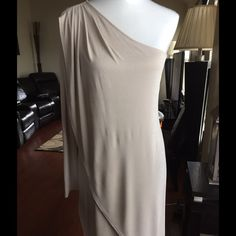 """BCBG Dress BCBG Maxazria one shoulder dress, glitter on fabric, 41"""" from shoulder to lowest point, 71% Acetat 13% polyester 11% polyester 5% spandex, worn once Size Med BCBGMaxAzria Dresses One Shoulder"""