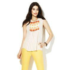 GEO STRIPE PLEATED BLOUSE-Vince Camuto