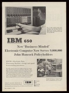 """IBM 650 Computer System 2 Ad (1955). """"Business Minded"""" IBM...selling to the line of business."""