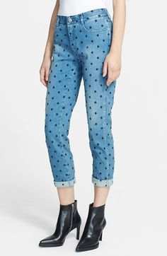 Stella McCartney Star Embroidered Skinny Boyfriend Jeans | Nordstrom