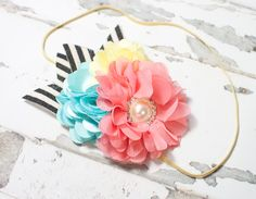 Carnival Rides - headband in salmon pink, coral pink, yellow, aqua, black and cream (RTS) by SoTweetDesigns on Etsy
