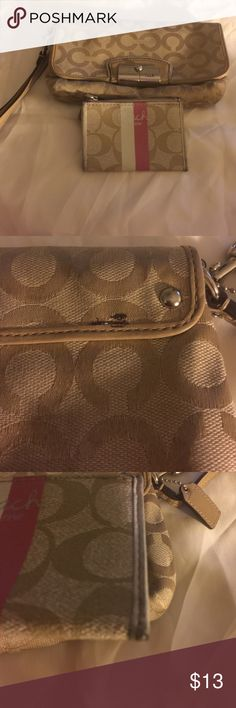 COACH LARGE WRISTLET AND SMALL WALLET BOGO BOGO! Coach large wallet, and a small coach card holder, wear noted on pictures. Needs a cleaning! On the inside flap of the coach wallet, there is some wrinkling and staining. Still has a lot of life in it. And beautiful color. This is a BOGO deal I'm giving on free they can't be separated.💄 ✔️REASONABLE OFFERS ACCEPTED  ❌NO TRADES ❌NO HOLDS Coach Bags Clutches & Wristlets