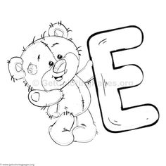 Teddy Bear Alphabet Letter E Coloring Pages Alphabet Coloring Pages, Colouring Pages, Coloring Sheets, Adult Coloring, Coloring Books, Free Coloring, Alphabet A, Animal Alphabet, Alphabet Crafts