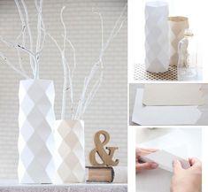 DIY Vase: bottle cover Not in english Box Origami, Origami Paper Art, Diy Paper, Diy Ceramic, Diy Arts And Crafts, Diy Crafts, Image Deco, Paper Vase, English Decor