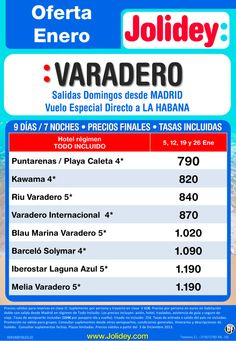 Oferta Enero - Varadero desde 790€ Tax incl. Salidas Domingos 5, 12, 19 y 26 ultimo minuto - http://zocotours.com/oferta-enero-varadero-desde-790e-tax-incl-salidas-domingos-5-12-19-y-26-ultimo-minuto/