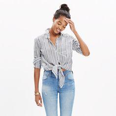 A striped button-down shirt made to be tied at the waist. High Risers, meet your new best friend. <ul><li>True to size.</li><li>Cotton.</li><li>Import.</li></ul>