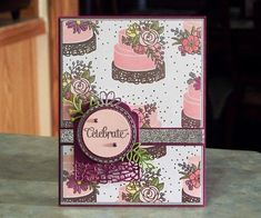 Stampin Up Celebrate card, made using Cake Soiree stamp set and other items from the Sweet Soiree suite.