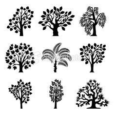 Asymmetrical trees Royalty Free Stock Vector Art Illustration