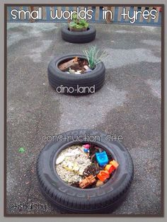 Interest areas which could be changed depending on the children. Tyres used as boundary line and small world.