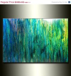 ❘❘❙❙❚❚ ON SALE ❚❚❙❙❘❘ Original Abstract painting Contemporary BLUE , green , Fine Art by Henry Parsinia FREE SHIPPING for the continent