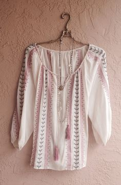 Bohemian pink embroidered peasant tunic with fringe by BohoAngels, $125.00