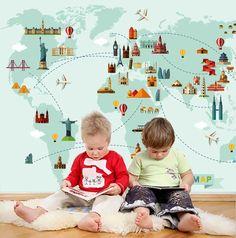 (1) 3D World Map Surface Wall Mural Wallpaper 56 – Jessartdecoration Map Wallpaper, Kids Wallpaper, Peel And Stick Wallpaper, Wallpaper Ideas, Kids World Map, World Map Wall, Building Map, Removable Wall, Textured Walls
