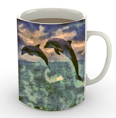 Dolphin Pair - Flip & Flop -  Ceramic Coffee/Latte Mug by DoggyLips  - 2 Sizes by DoggyLips on Etsy