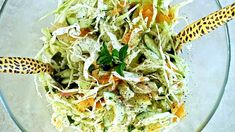 Coleslaw In Coconut Cream Dressing With Mint ~ This deliciously light but creamy coleslaw is mildly flavoured with mint. This salad can be served as a starter or as a side with lamb, pork or chicken. Coleslaw Salad, Creamy Coleslaw, Vegetarian Recipes, Cooking Recipes, Healthy Recipes, Delicious Recipes, Healthy Salads, Healthy Eating, Island Food