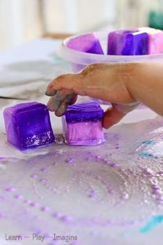 Painting with ice chalk and oil - sensory art for toddlers