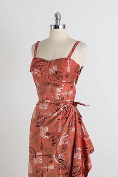 Vintage Hawaiian dress, 1950s Retro Vintage Dresses, Retro Dress, Vintage Clothing, Vintage Outfits, Hawaiian Wear, Vintage Hawaiian, Beautiful Clothes, Beautiful Outfits, Tiki Dress