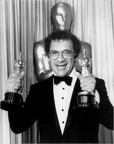 """58th Academy Awards® (1986) ~ Sydney Pollack ~ (1934 – 2008) celebrating his Two Oscar® win for """"Best Picture"""" and for Directing """"Out of Africa"""" (1985) (Won 2 Oscars)"""