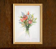 Flower bouquet   original watercolor painting