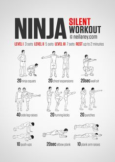 Silent no-equipment workout for every morning for when you need to be ninja-stealthy. Print & Use.
