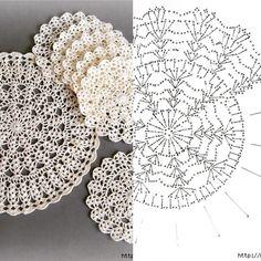 Ideas for crochet patrones ganchillo carpetas Crochet Doily Diagram, Crochet Doily Patterns, Crochet Mandala, Crochet Chart, Thread Crochet, Crochet Flowers, Crochet Circles, Crochet Round, Crochet Squares