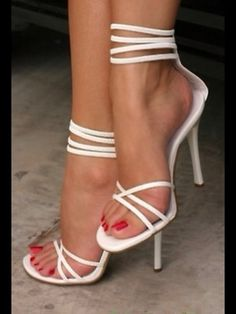 white strappy heels for summer
